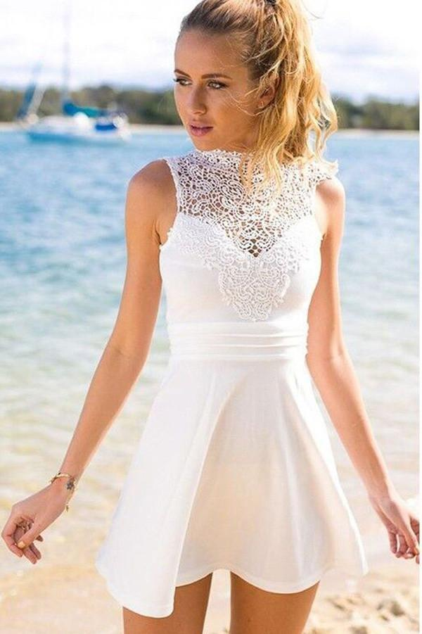 White Simple Short Cheap Open Back Sleeveless Cute Lace Graduation Homecoming Dress P6
