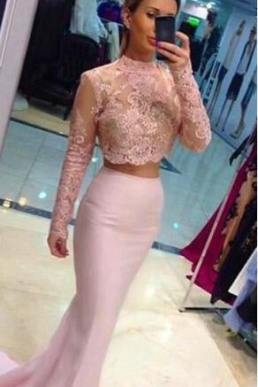 Pale Pink Two Pieces Long Sleeves Lace Mermaid See Through Jewel Neckline Prom Dresses JS201