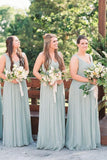 V Neck Long Gown Chiffon Classic Bridesmaid Dresses