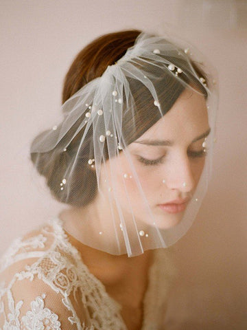 One-tier Cut Edge Birdcage Veils With Imitation Pearls #SP032