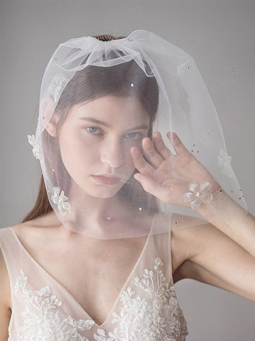 One-tier Birdcage Veils With Flower #SP033
