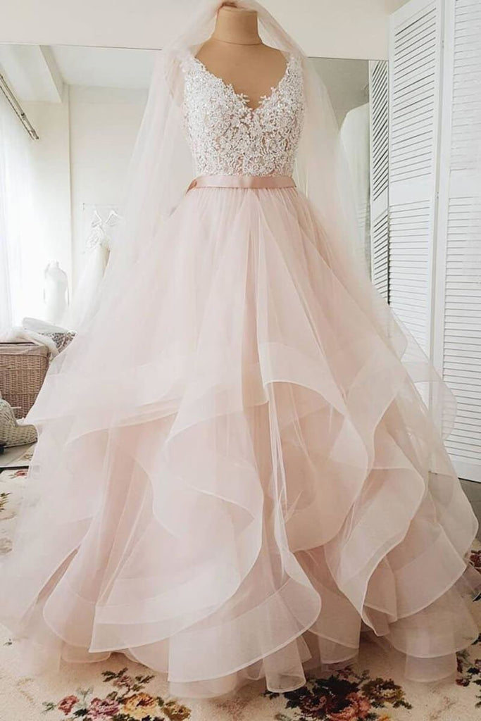 A Line Blush Pink Lace Sweetheart Backless Multi-Layered Organza Beach Wedding Gowns JS231