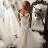 Off the Shoulder Mermaid Tulle Wedding Dresses Lace Appliques Bridal Gown JS448