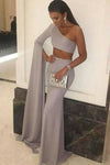 Sexy Mermaid One Shoulder Grey Slit Satin Long Zipper Prom Dresses JS63