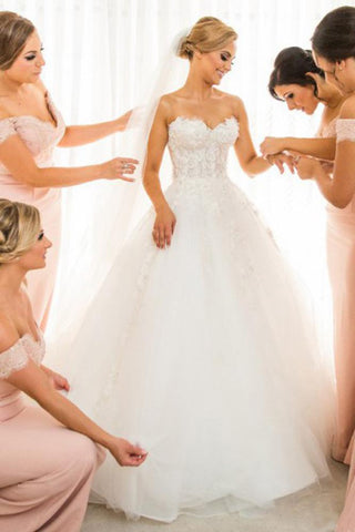 Fairy Ball Gown Strapless Sweetheart Ivory Tulle Long Wedding Dresses with Lace Appliques SME973