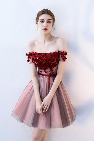 A Line Strapless Off the Shoulder Red Flowers Short Tulle Lace up Homecoming Dresses JS876