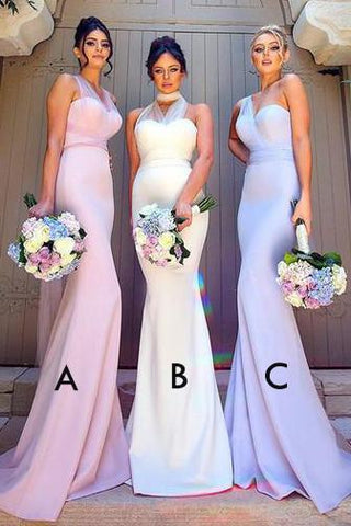 Elegant Mermaid Long Convertible Bridesmaid Dress Long Bridesmaid Dresses with Sash SME70