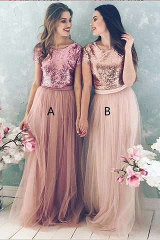 A Line Top Blush Sequin Lovely Two Piece Tulle Round Neck Cheap Bridesmaid Dresses JS832