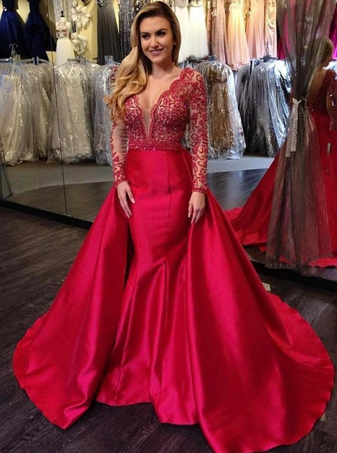 Elegant Mermaid Long Red Long Sleeve Beading V Neck Lace Satin Backless Prom Dresses JS851