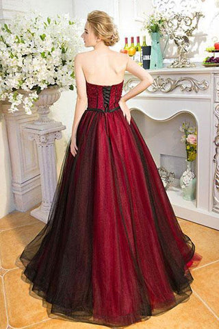 Strapless Beads Sleeveless Sweetheart Tulle Ball Gown Backless Black Burgundy Prom Dresses SME258