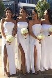 Simple White Side Slit Strapless Long Bridesmaid Dresses, Floor Length Bridesmaid Dresses