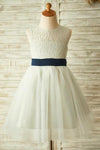 Princess Ivory Beautiful Lace and Tulle Scoop Open Back Cheap Flower Girl Dresses with Bow JS772