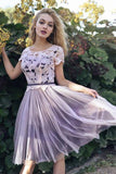 Short Sleeves Scoop Lace Homecoming Dresses A line Cheap Pink Short Prom Dresses JS930