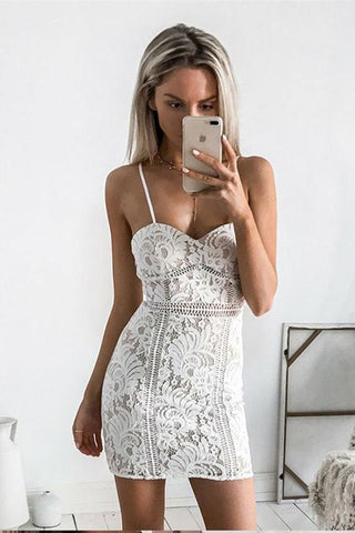 Sexy Sheath Spaghetti Straps Short Sleeveless Sweetheart Ivory Lace Homecoming Dresses JS681