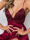 Sheath V-neck Sequined Silk-like Satin Ankle-length Split Front Backless Prom Dresses UK JS389