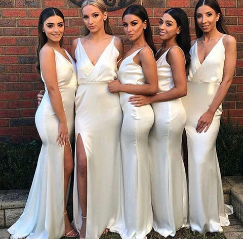 Sexy Mermaid Ivory V Neck Split Long Bridesmaid Dresses Sleeveless Prom Dresses SME918