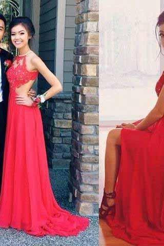 Red Backless Sexy Lace Unique Halter A-Line Slit Criss Cross Sleeveless Prom Dresses JS948