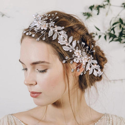 Bridal Hair Accessories Women Tiara Floral Wedding Hair Band Wedding Ribbon Headband Bridal Jewelry #SP014