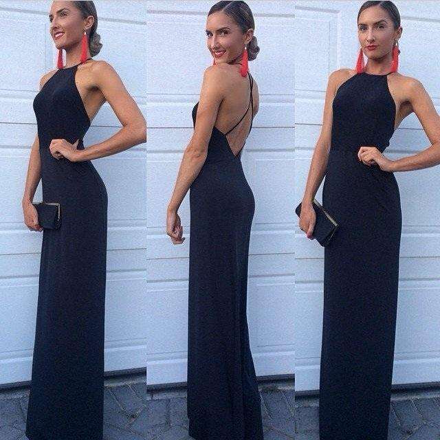 New Arrival Modest Halter Criss-Cross A-Line Long Navy Blue Sleeveless Prom Dresses JS616