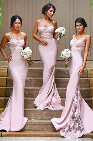 Stylish Mermaid Spaghetti Straps Satin Long Pink Bridesmaid Dresses with Lace Appliques SME267