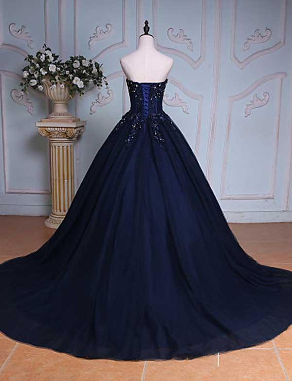 Princess Ball Gown Sweetheart Navy Blue Beads Ruffles Long Tulle Prom Dresses with Lace up JS236