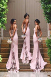 New Arrival Pink Spaghetti Straps Lace High Quality Mermaid Long Bridesmaid Dresses JS417
