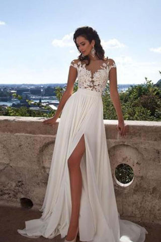 A-Line Top Lace Appliques Side Slit Chiffon Cap Sleeves Cheap Wedding Dress SME337