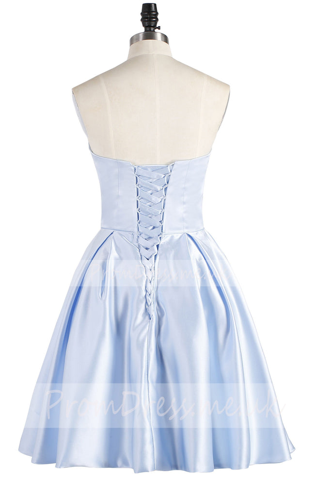 Light Sky Blue Strapless Satin Lace up Knee Length with Pockets Homecoming Dresses JS836
