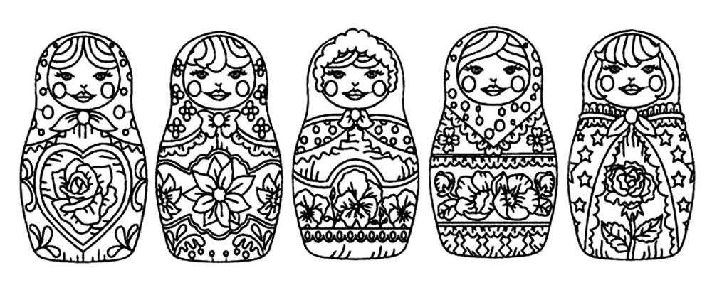 Coloriage Matriochka.