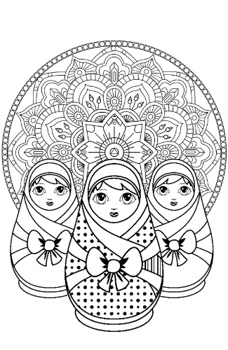 Coloriage Matriochka mandala.