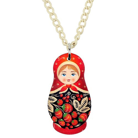Collier matriochka rouge amour.