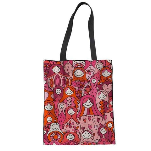 Sac Matriochka rouge et rose.