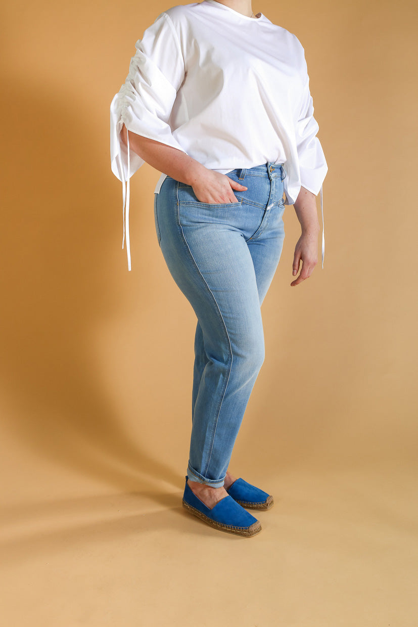 Jeans Pedal Pusher Light Blue