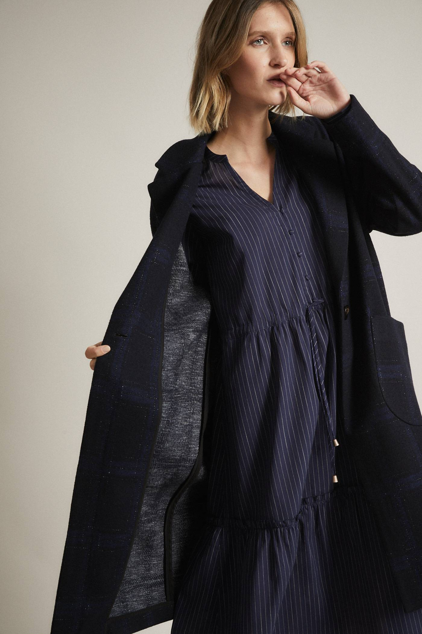 Lanius Check Coat Midnight Blue