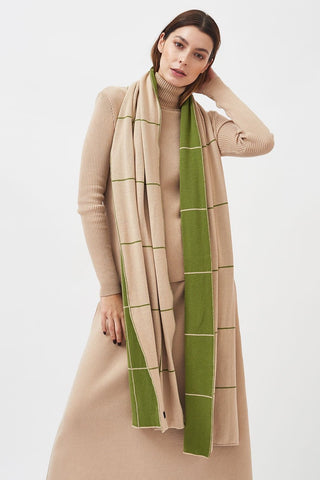 Milavert Checked Scarf Green Beige