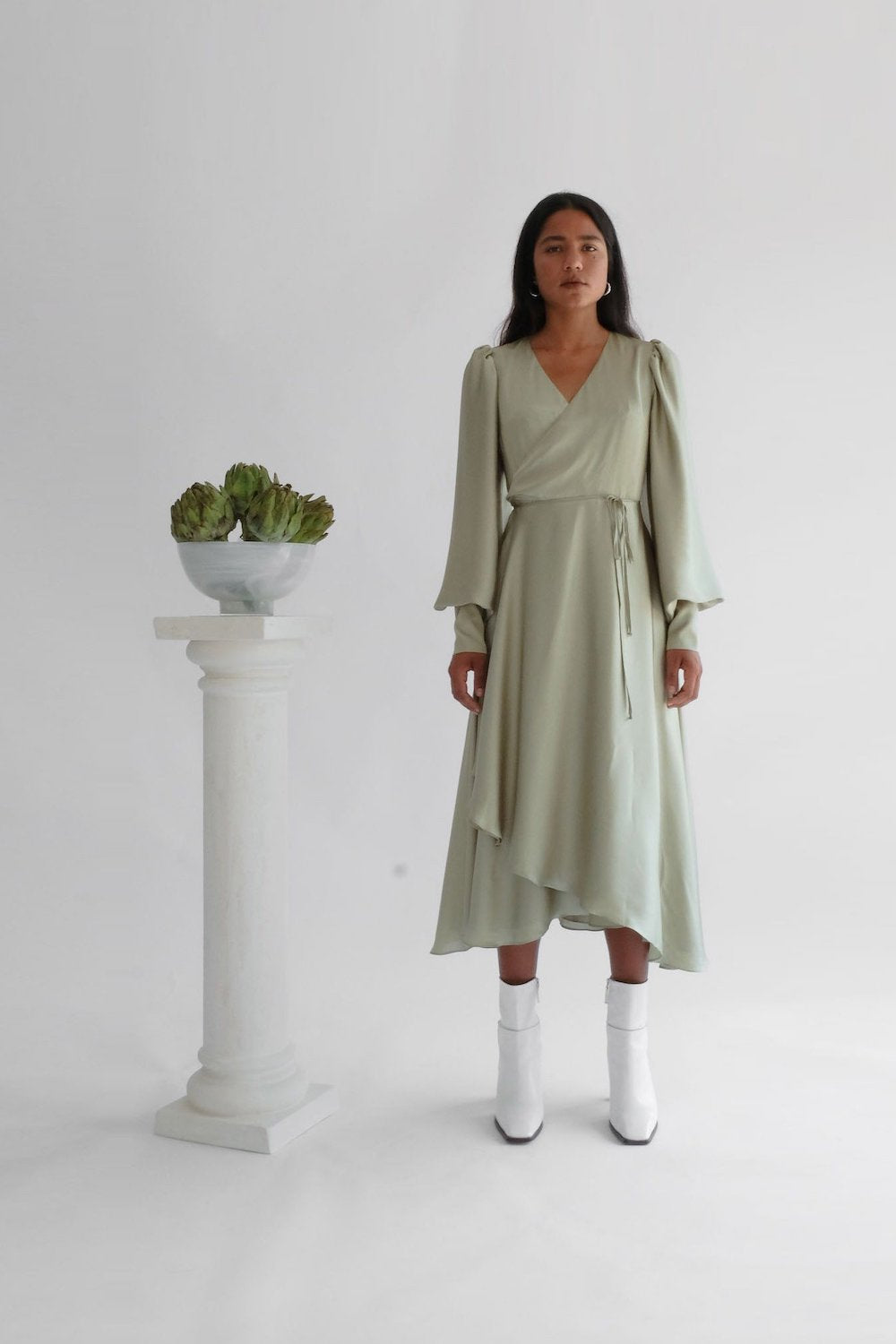 Oh Seven Days Wrap Dress Sage