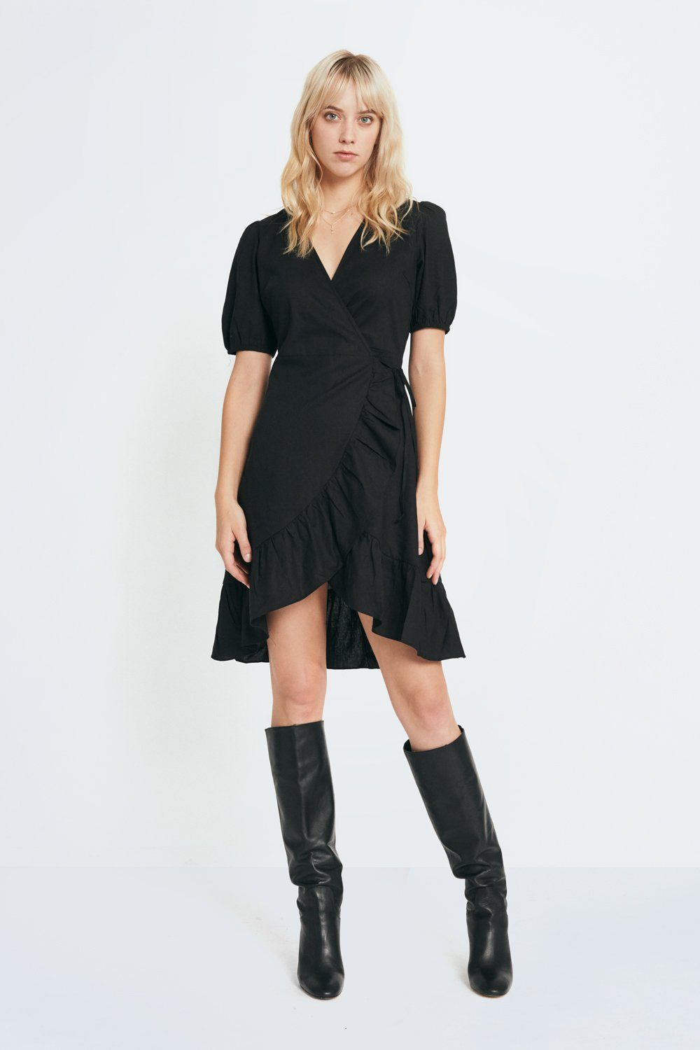 Siizu Puff Sleeve Wrap Dress