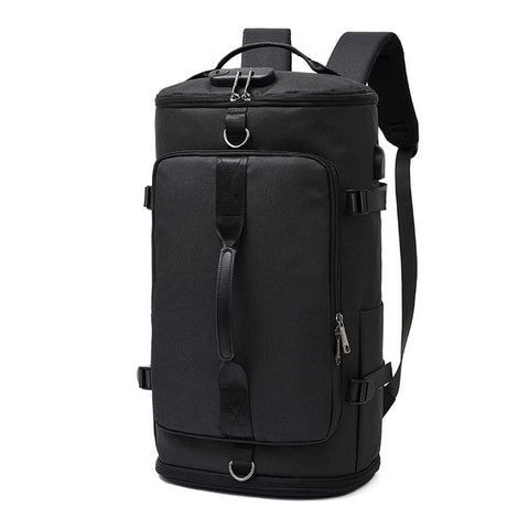 Oxford Cloth Waterproof Multipurpose Men Travel Backpack Leisure Large Capacity Outdoor Camping Luggage Sport Bag USB Black