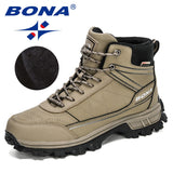 BONA 2020 New Designers Nubuck Hiking Shoes Men Trekking Tourism Camping Shoes Man Plush Warm Winter Anklt Boots Masculino Comfy