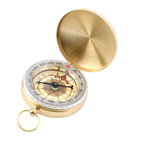 Mini Compass With Luminous Brass Pocket Watch Compass Keychain Tourist Navigator For Hunting Forest Hiking Equipment