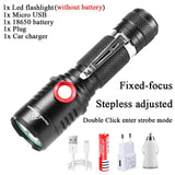 ZHIYU High Power Fixed-focus LED Flashlights Stepless Adjusted 18650 Flash Lights USB Rechargeable Camping Outdoor Lantern Lamp