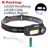 Portable Mini XPE+COB LED Headlamp with USB Charging