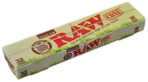 RAW Organic Hemp Kingsize Cones - 32Pcs