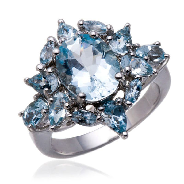 Dazzling Oval Cut Aquamarine Cocktail Ring
