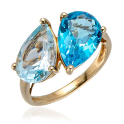 Eternity Pear Cut Aquamarine Gold Plated Engagement Ring