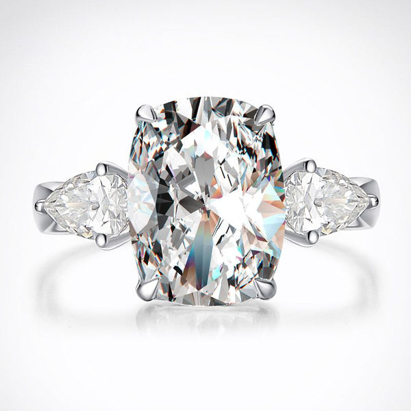 Elegant Cushion Cut 3.5 CT Sterling Silver Ring