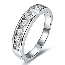 Channel Setting Five Stone Round Brilliant-cut Wedding Band For Him