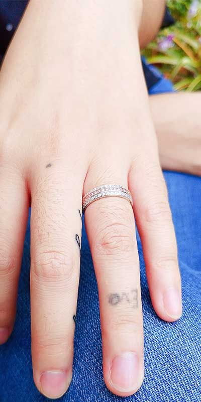 Three Rows Micro-insert Sapphires Sterling Silver Wedding Band for her