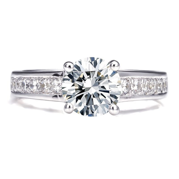 Classic Four Claws White Sapphire Engagement Ring