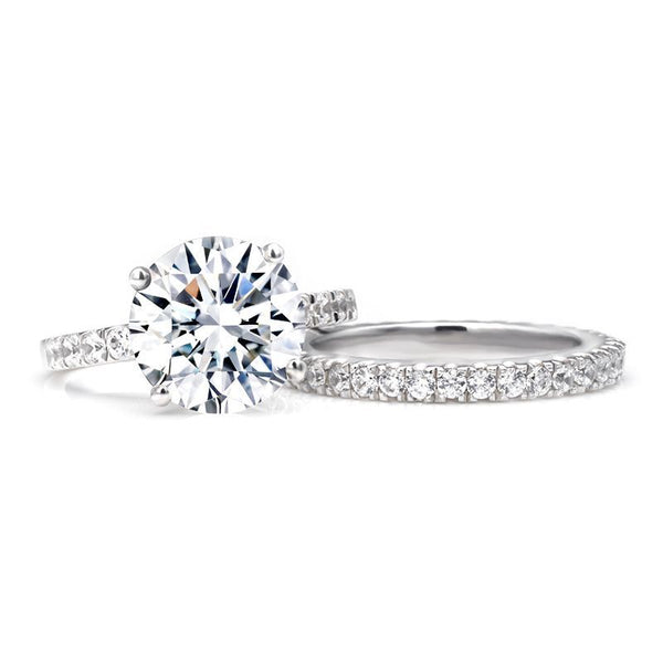 Round Brilliant-cut White Sapphire Sterling Silver Wedding Set